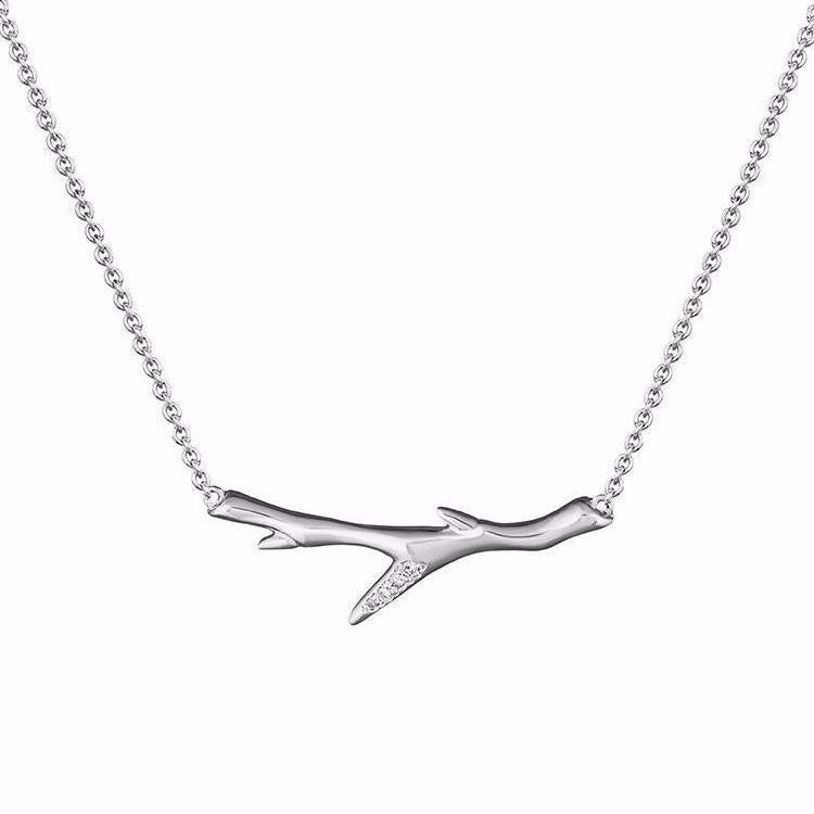 Silver and Diamond<br>Cherry Branch Necklace