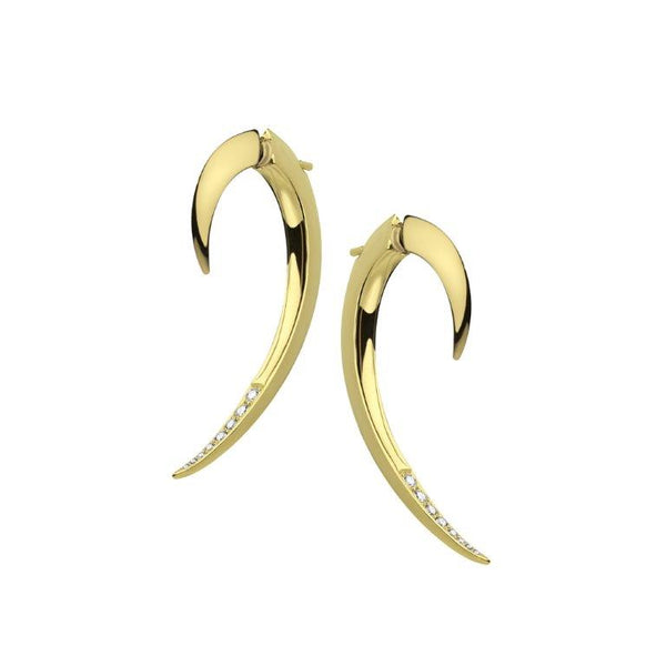 Yellow Gold Vermeil Diamond Hook Earrings