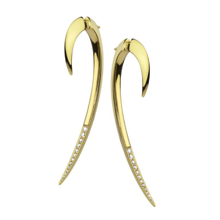 Yellow Gold Vermeil Diamond Large Hook Earrings