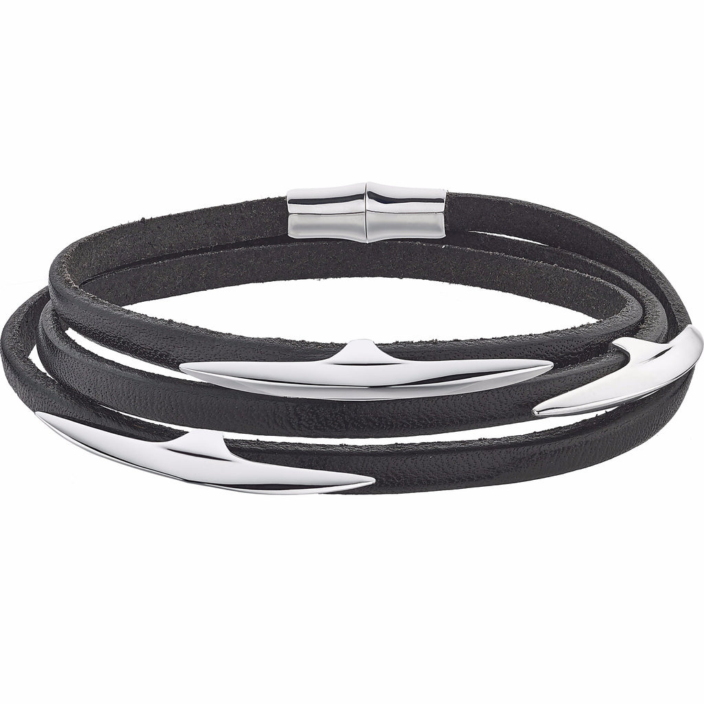 Silver Multi Arc Black Leather Wrap Bracelet Size 1