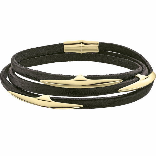Silver Gold Plate Multi Arc Brown Leather Wrap Bracelet Size 1
