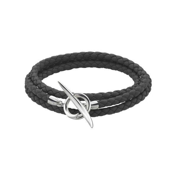 Black Woven Leather and<br> Silver Quill Wrap Bracelet