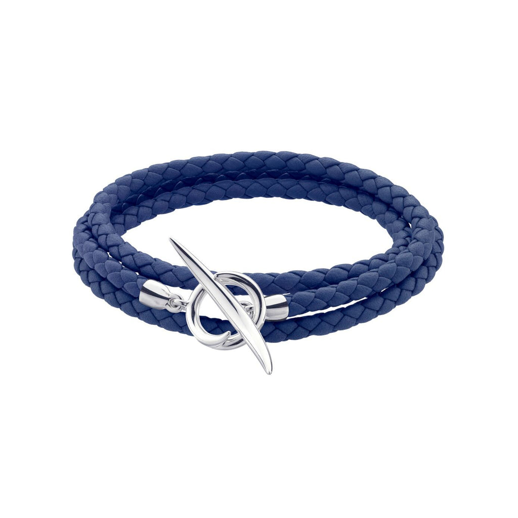 Silver Quill Blue Leather Wrap Bracelet