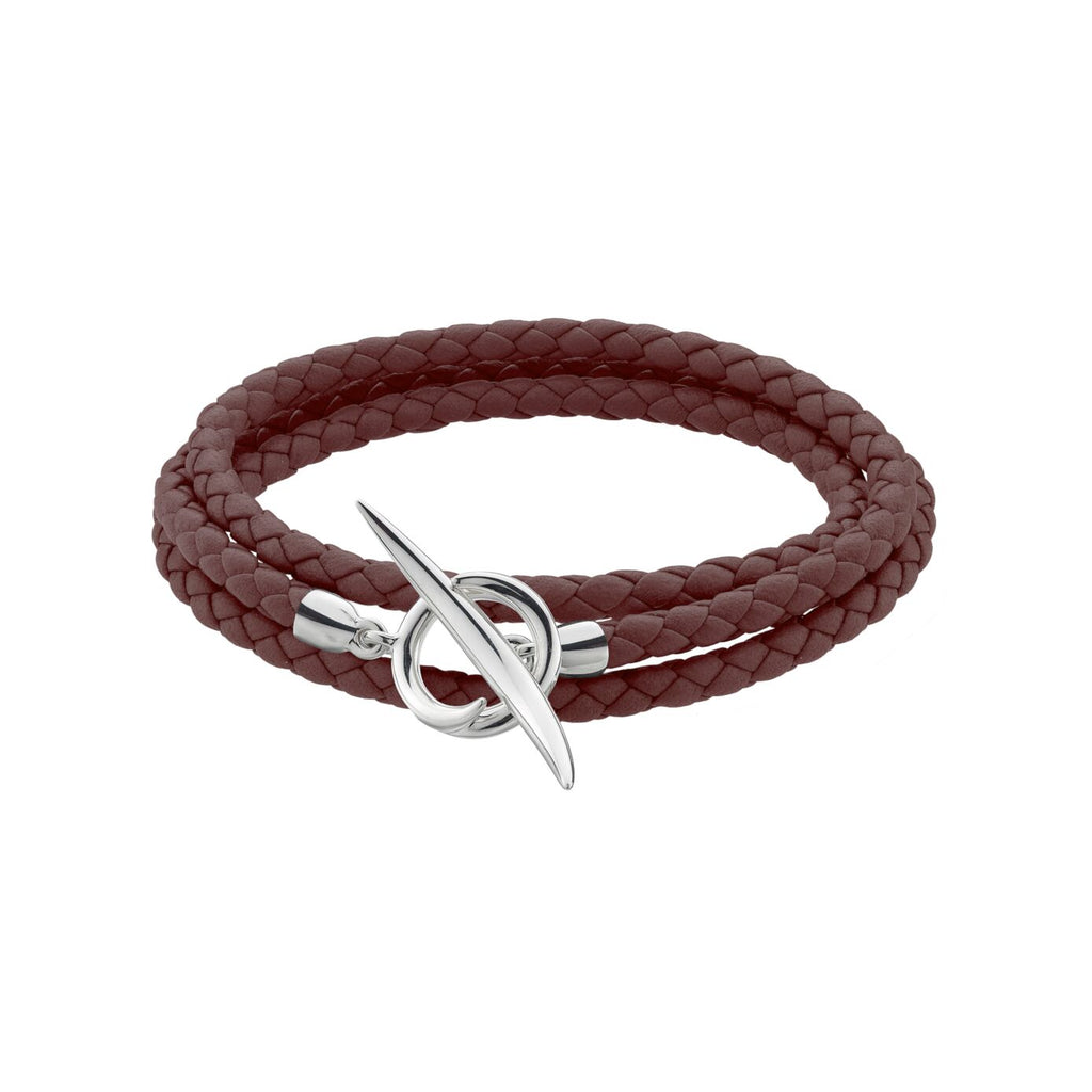 Brown Woven Leather and<br> Silver Quill Wrap Bracelet