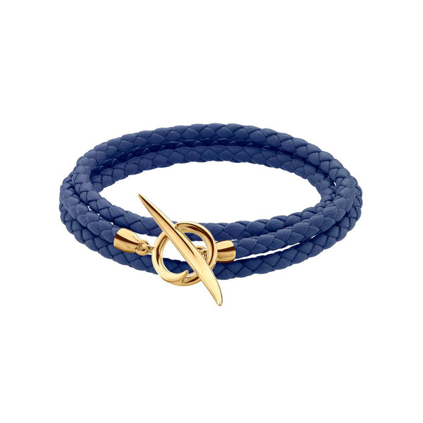 Yellow Gold Vermeil Quill Blue Leather Wrap Bracelet