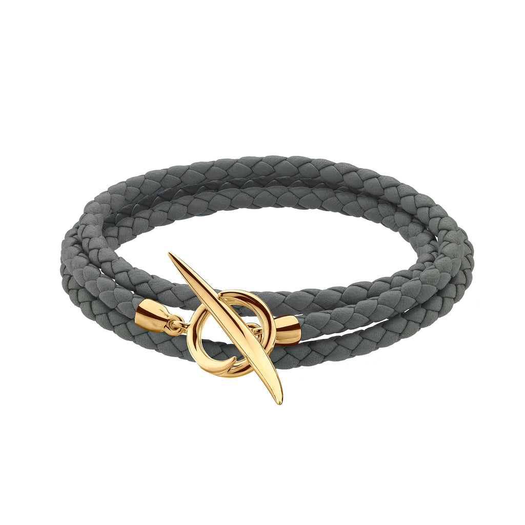 Yellow Gold Vermeil Quill Grey Leather Wrap Bracelet