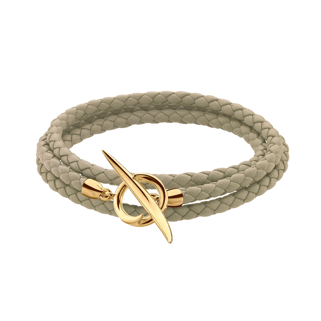 Yellow Gold Vermeil Quill Natural Leather Wrap Bracelet
