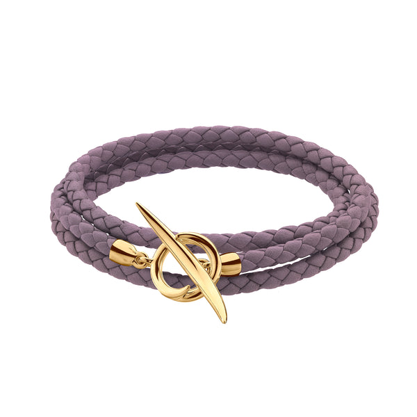 Yellow Gold Vermeil Quill Rose Leather Wrap Bracelet