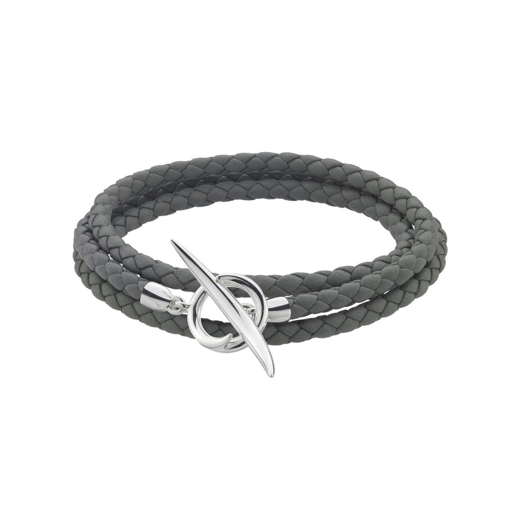 Grey Woven Leather and<br> Silver Quill Wrap Bracelet