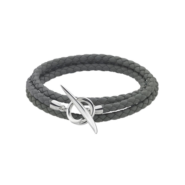 Silver Quill Grey Leather Wrap Bracelet