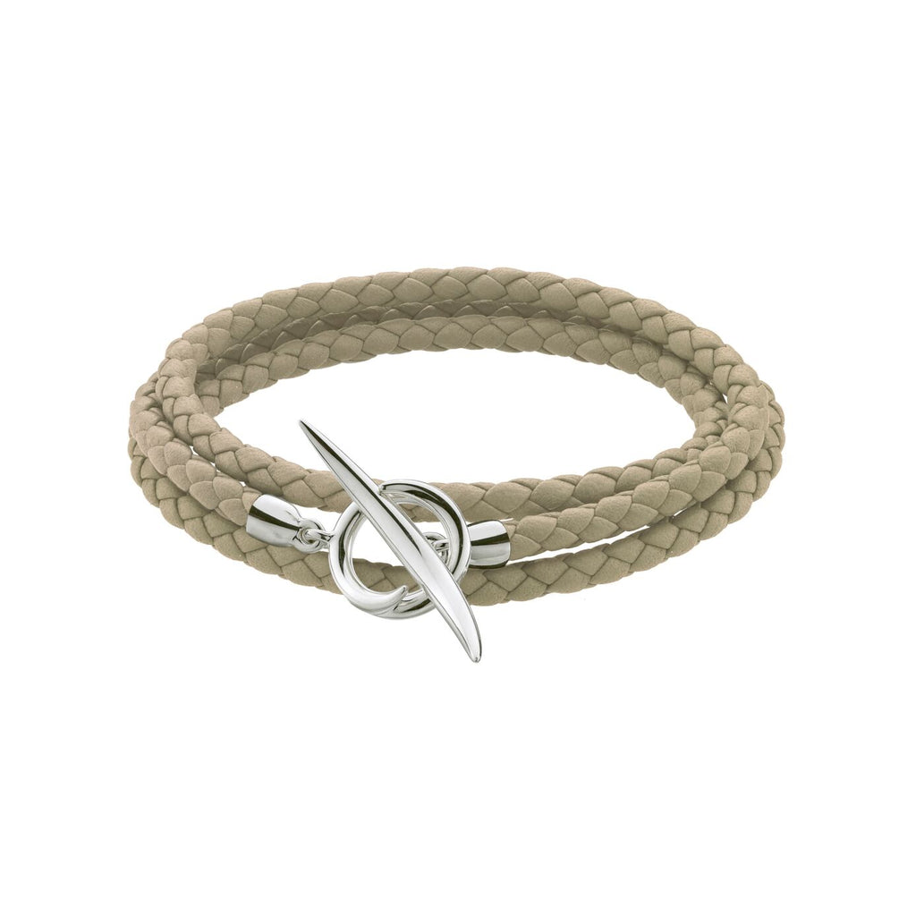 Natural Woven Leather and Silver Quill Wrap Bracelet