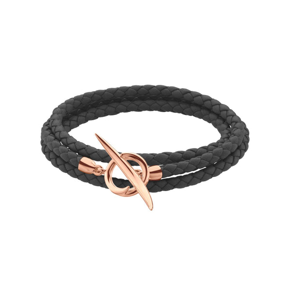 Rose Gold Vermeil Quill Black Leather Wrap Bracelet