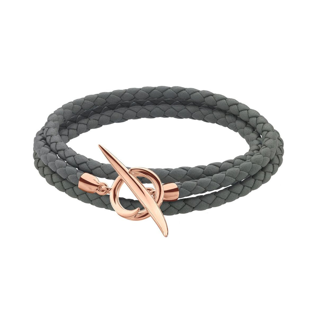 Rose Gold Vermeil Quill Grey Leather Wrap Bracelet