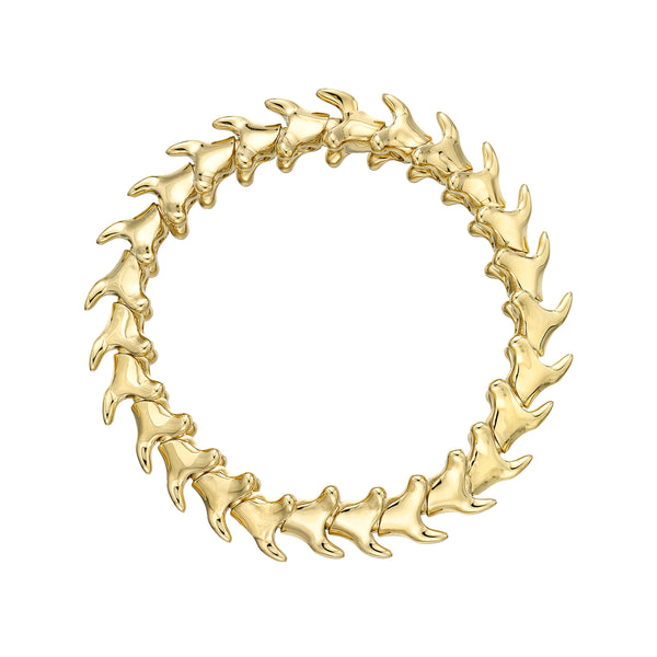 Yellow Gold Vermeil Serpents Trace Wide Bracelet