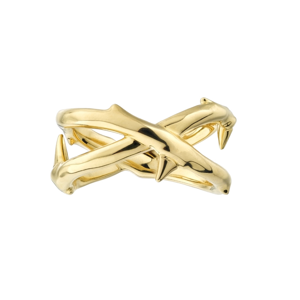 Yellow Gold Vermeil Rose Thorn Wide Band Ring