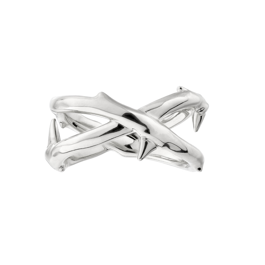 Silver Rose Thorn Wide Band Ring