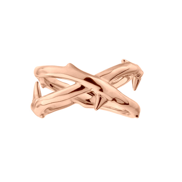 Rose Gold Vermeil Rose Thorn Wide Band Ring