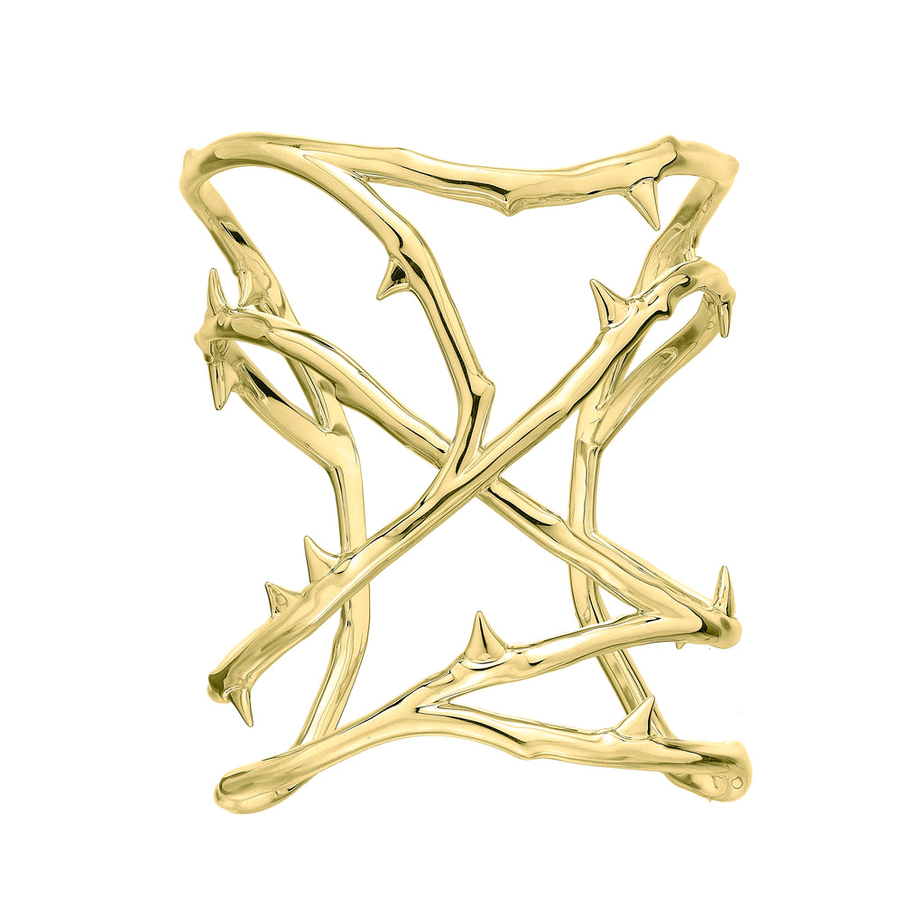 Yellow Gold Vermeil Rose Thorn Cuff