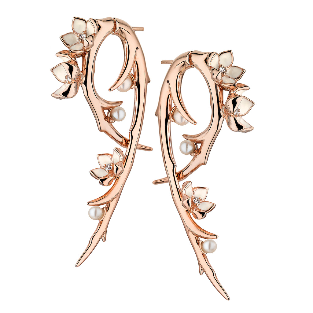 Rose Gold Vermeil Cherry Blossom Diamond and Pearl Hook Earrings