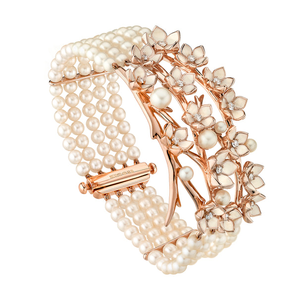 Rose Gold Vermeil Cherry Blossom Diamond and Pearl Strand Bracelet