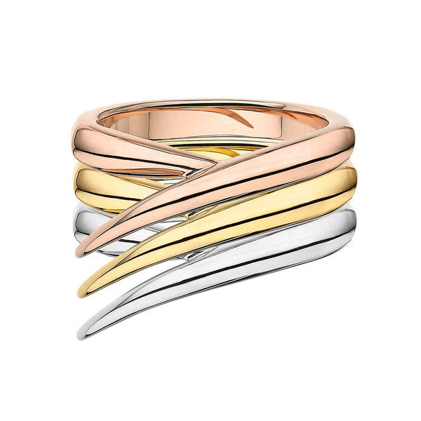 Rose, Yellow and White Gold Interlocking Stack