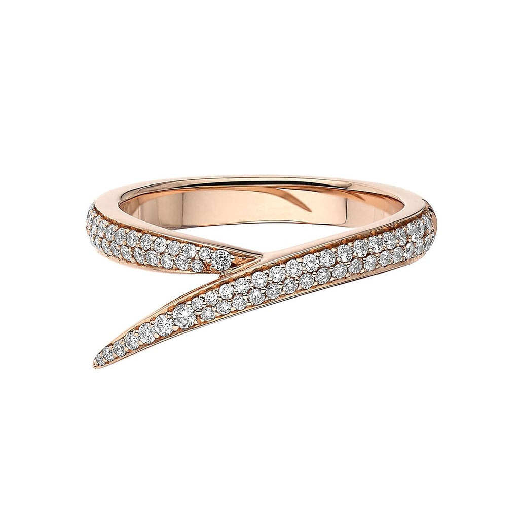 18ct Rose Gold and Diamond Single Interlocking Ring