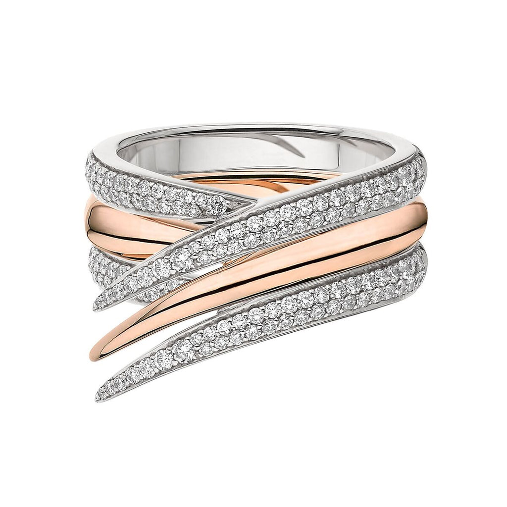 Rose Gold and White Diamond Interlocking Stack