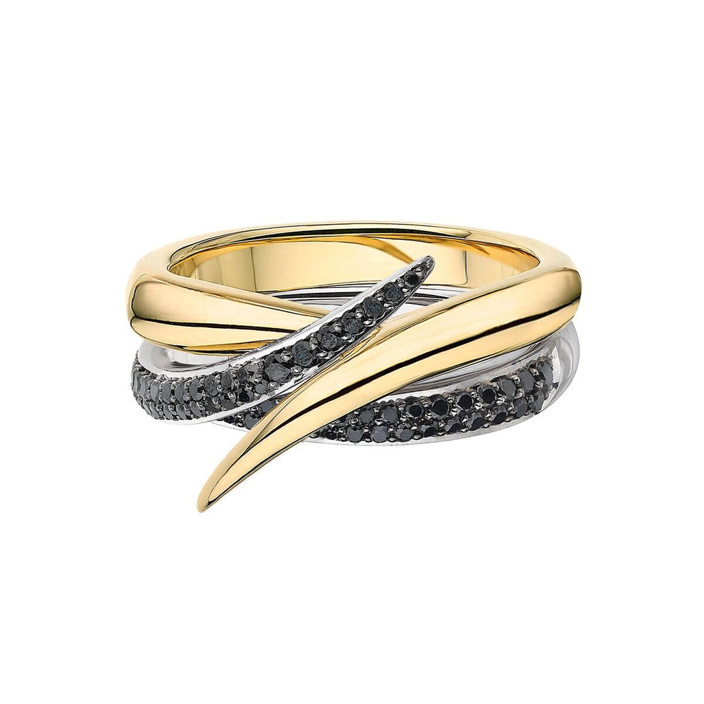 Yellow Gold and Black Diamond Interlocking Duo
