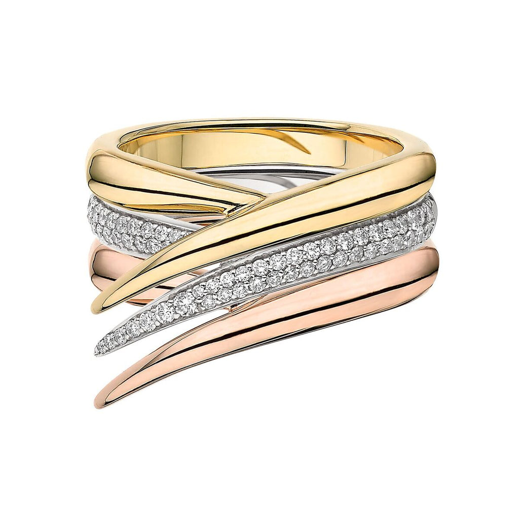 Yellow, Rose & White Gold with<br> Diamond Interlocking Stack