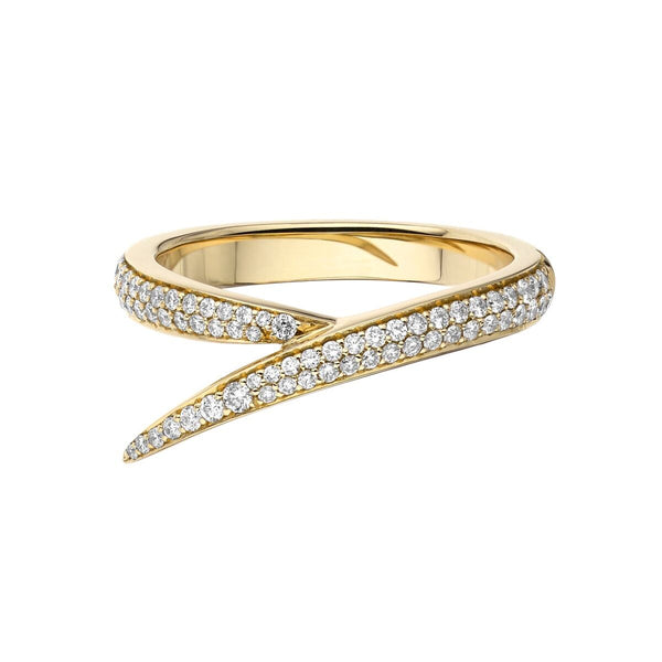 18ct Yellow Gold and Diamond Single Interlocking Ring