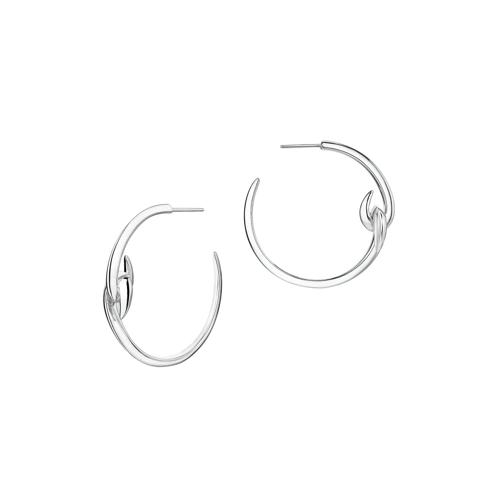 Silver Hook Hoop Earrings