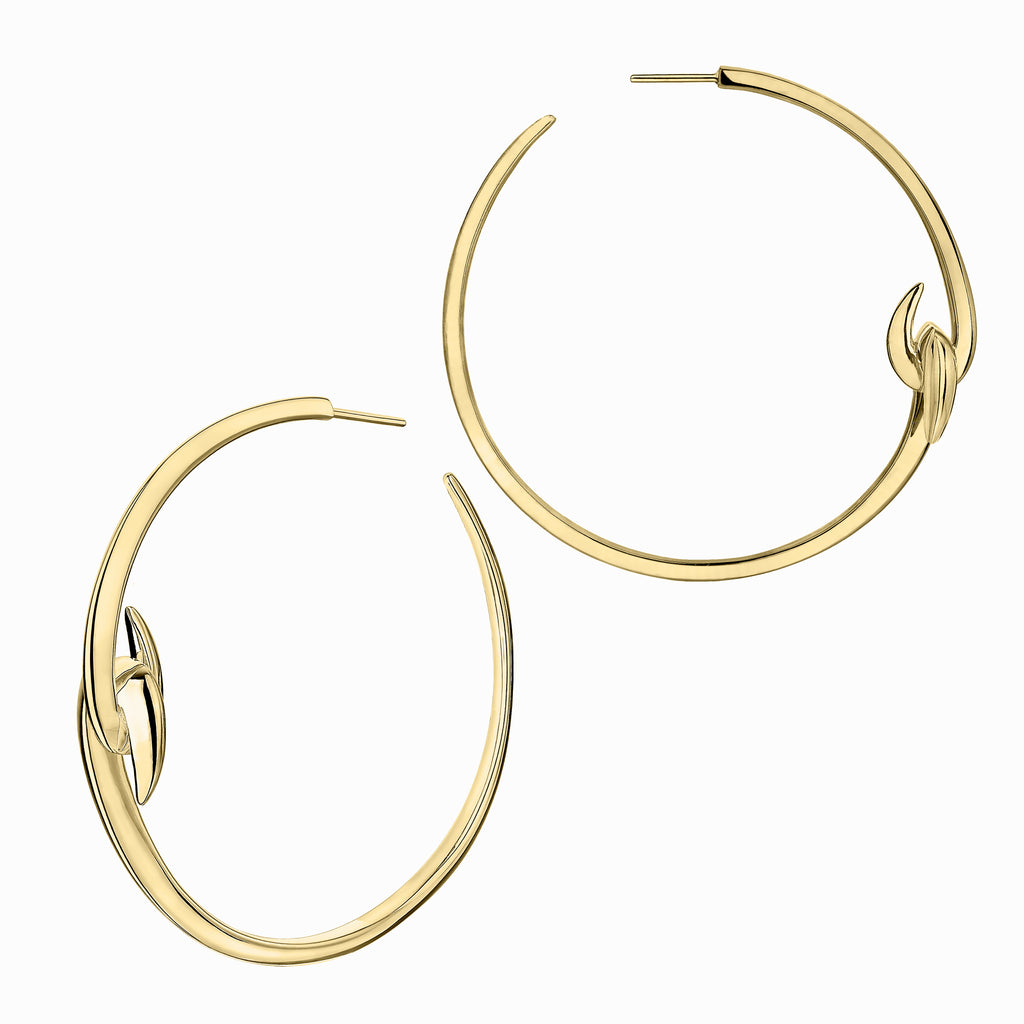 Yellow Gold Vermeil Hook Large Hoop Earrings