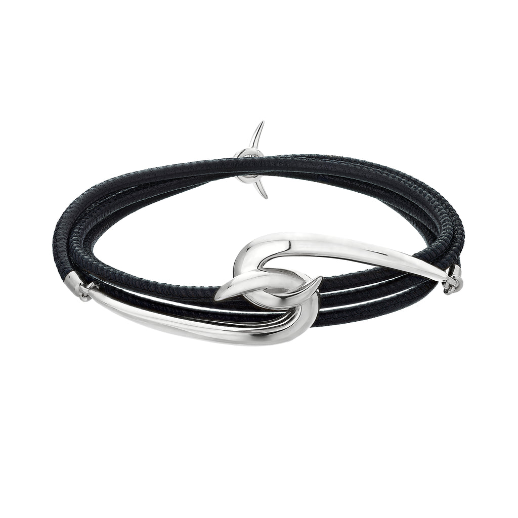 Silver Hook Leather Bracelet