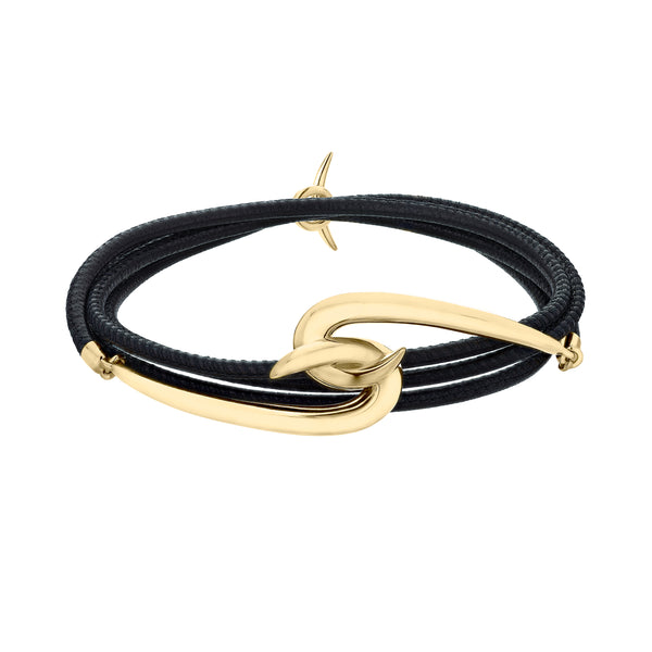 Yellow Gold Vermeil Hook Leather Bracelet