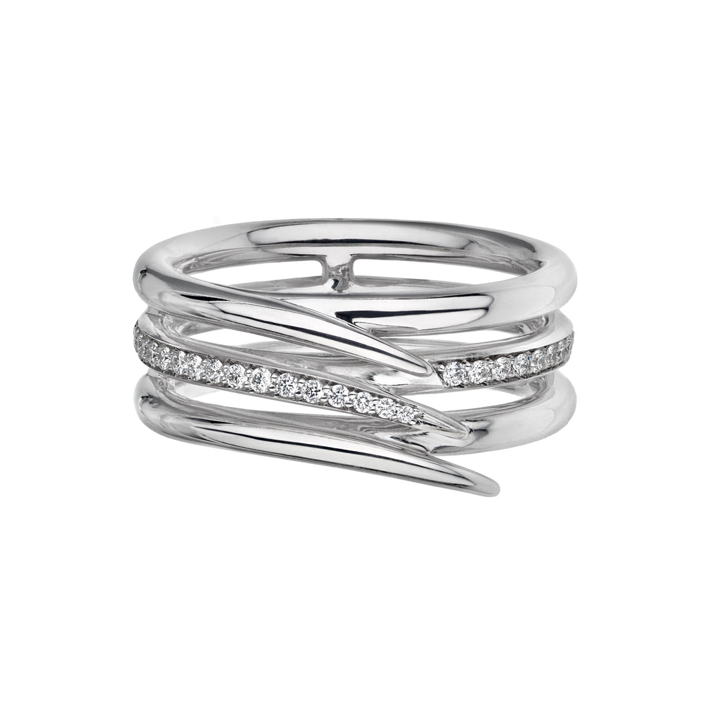 18CT White Gold Diamond Single Row Pave Armis Ring