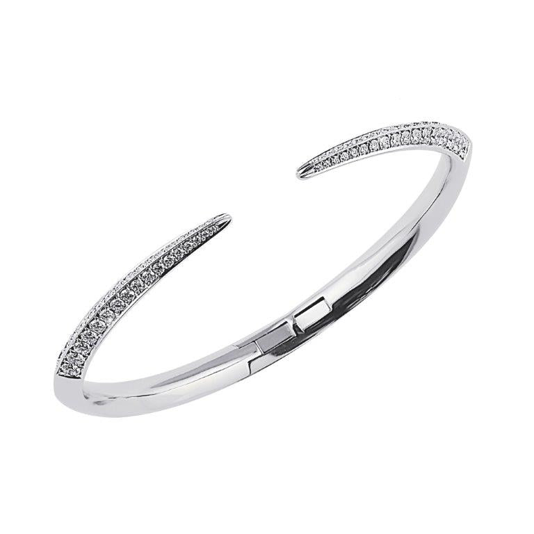 18ct White Gold and Diamond Slim Sabre Bangle
