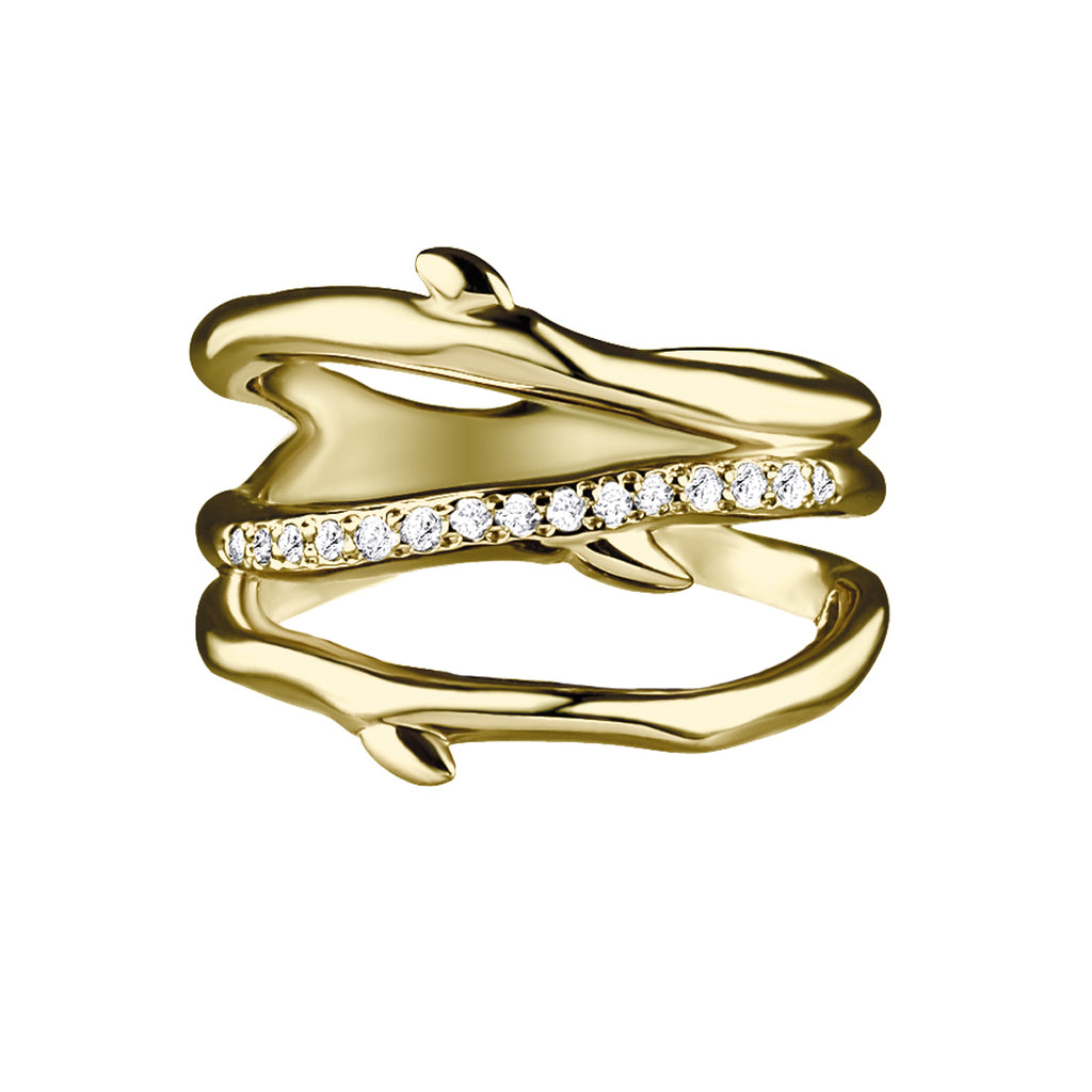 Yellow Gold Vermeil Cherry Blossom 3 Branch Diamond Ring