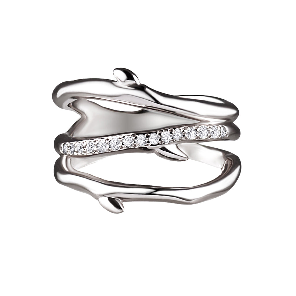 Silver and Diamond Three<br> Band Cherry Branch Ring