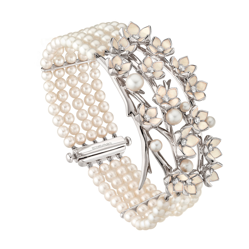 Silver Cherry Blossom Diamond and Pearl Strand Bracelet