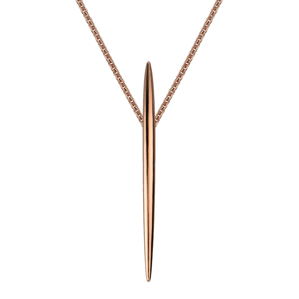 Rose Gold Vermeil Quill Large Long Pendant