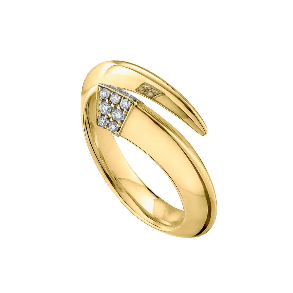 Silver Gold Vermeil and Diamond <br> Tusk Ring