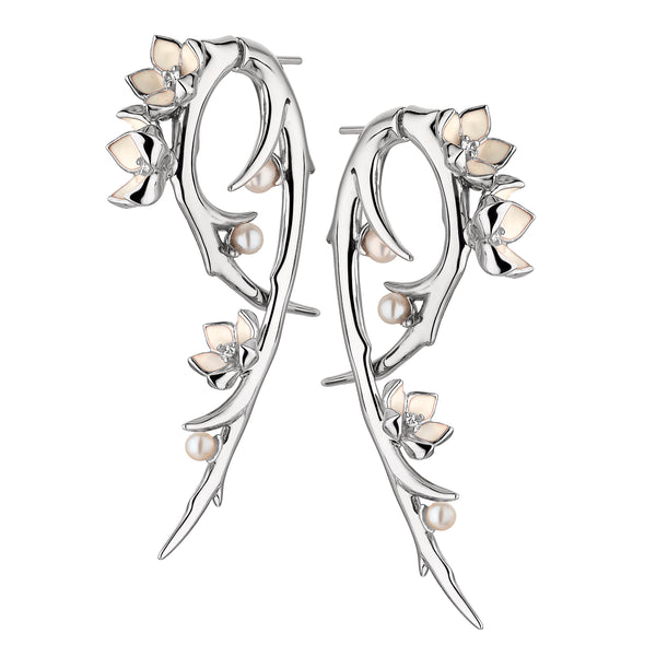 Silver Cherry Blossom Diamond and Pearl Hook Earrings