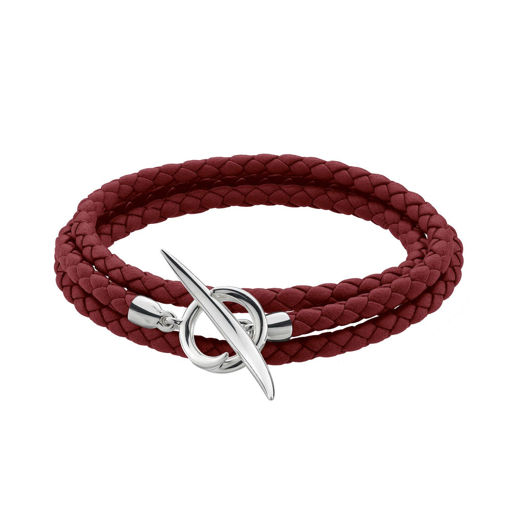Silver Quill Red Leather Wrap Bracelet