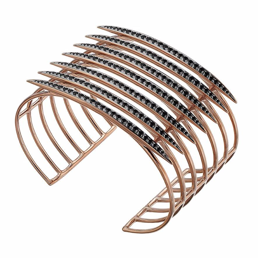 Rose Gold Vermeil and Black Spinel Quill Cuff