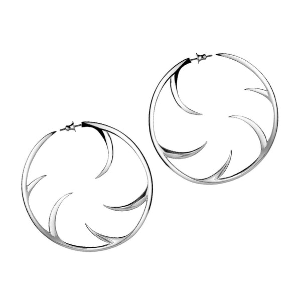 Statement Cat Claw Silver Hoop Earrings