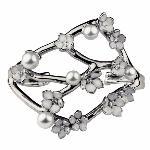 Silver and Diamond Wide Cherry Blossom Cuff