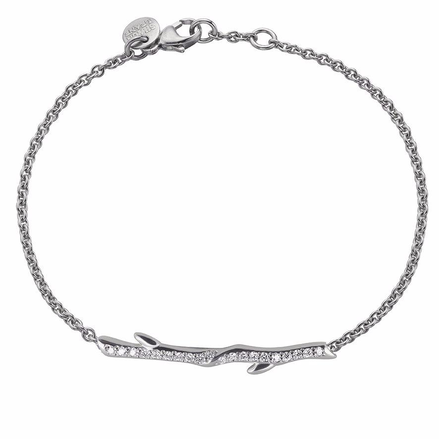 Silver and Diamond Cherry Branch Bracelet