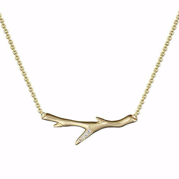Yellow Gold Vermeil and Diamond Cherry Branch Necklace