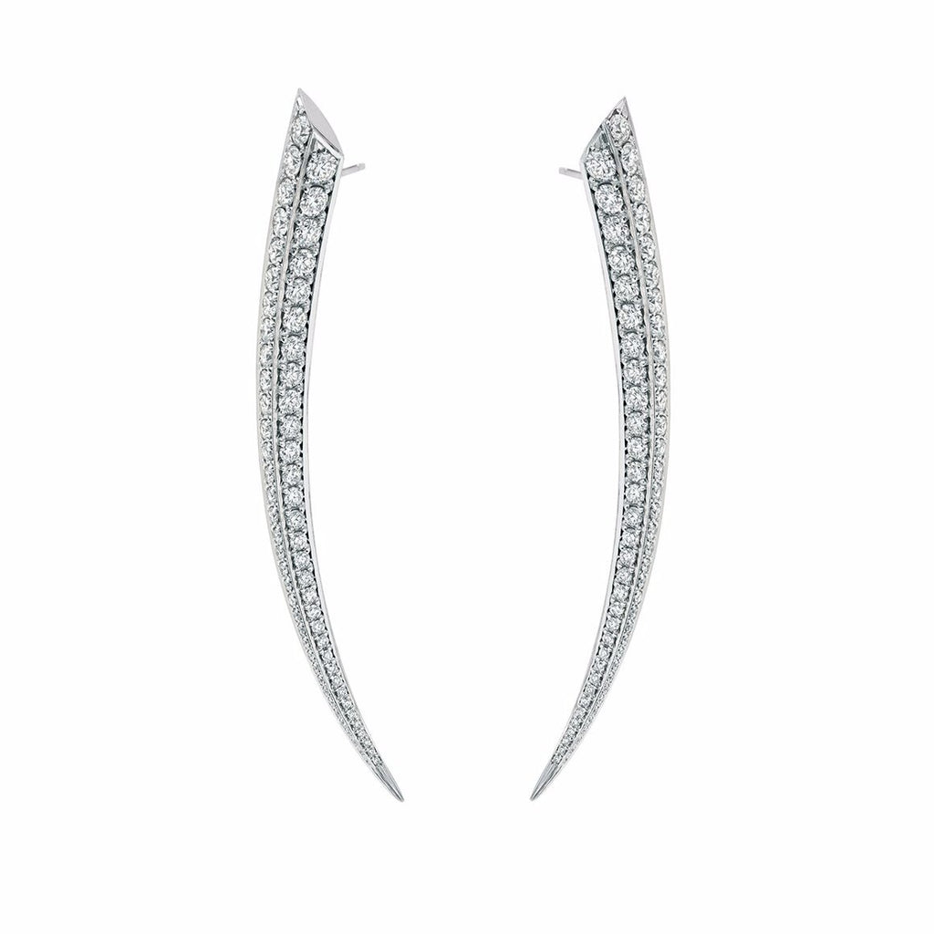 White Diamond Medium Sabre Earrings