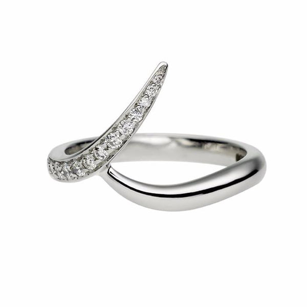 White Gold Pavé Set Outward Interlocking Wedding Band